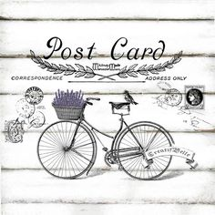 This is a digital download Vintage Bicycle Post Card Large A4 size    Digital download in 300dpi High Resolution JPG and PNG ready for A4 printing