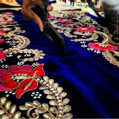 Threadwork and gota patti detailing on blue velvet