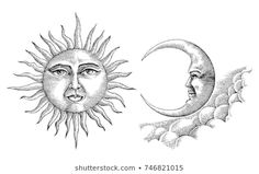 Vintage moon and sun hand drawing vintage style - Buy this stock vector and explore similar vectors at Adobe Stock Sun And Moon Drawings, Sun Drawing, Images Vintage, Photo Vintage, Vintage Style, Vintage Photographs, Planet Sketch, Vintage Moon, Sun Art
