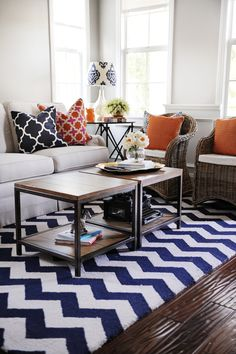 Navy, Orange and Pink is a great combination for spring. Pick up fun new patterned pillows and accessories at HomeGoods to refresh your space. Sponsored Pin.
