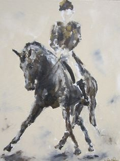 Dressage Horse Painting -Half Pass with Bronze 22 x 28, via Etsy.