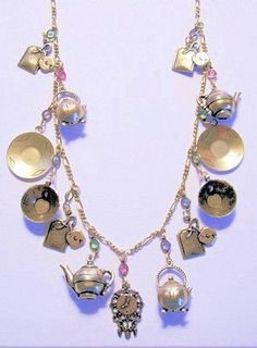 Victorian Tea Time Charm Necklace - Brass Jewelry - Roses And Teacups