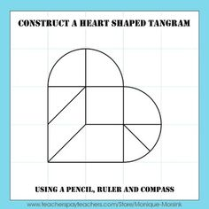 Valentine's Day Heart Tangram - This is a step by step drawing lesson on how to construct a heart shaped tangram and unique patterns.