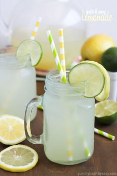 Quick  Easy Lemonade, perfect for a hot summer day! Tart, tangy  just a touch fizzy. Simple and delicious with no squeezing required!