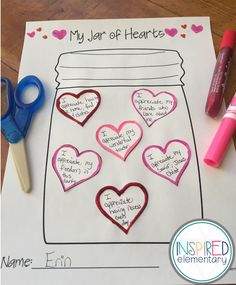 "Valentine's Day is right around the corner so I wanted to share one of my favorite writing activities: My Jar of Hearts. Two things I love about Valentine's Day are the candy hearts and the ""feel good fuzzies"" you get from someone else's kind words; whether it be verbal or written. So this writing activity…"