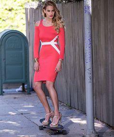 Yepme Cut-Out Bodycon Dress - Coral