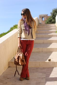 a pop of russet..maybe not the purple scarf