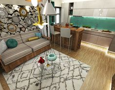 One room apartment with an eclectic edgy design One Room Apartment, My Design, Furniture Design, Kids Rugs, Interior Design, Home Decor, Nest Design, Decoration Home, Kid Friendly Rugs