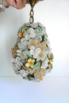 Vintage French Beaded Flower Pendant Light