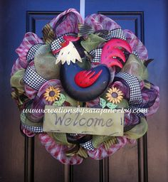 Spring Wreath with Rooster -
