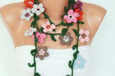 Crochet necklace scarf crochet lariat scarf crochet by SenasShop