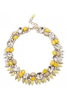 Yellow crystal & glass stone statement necklace