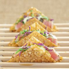 Takashimi Ahi Wonton Tacos created by The French Gourmet Photography by Siegel Thurston Photography Canapes Recipes, Appetizers, Wonton Tacos, Christmas Canapes, Fusion Food, Small Meals, Greens Recipe, Tapas, Catering