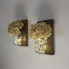 Handmade with outstanding meticulous quality, this set of mason jar wall sconces will add ambiance and beauty to any area of your home or office. What makes a sconce set from Tennessee Wicks special? We care about our products and how they are made. We use all natural safe wood from a