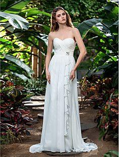 A-line Sweetheart Sweep/Brush Train Chiffon Wedding Dress (7... – USD $ 79.19