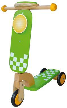 patinete madera verde para niños