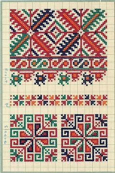 FolkCostume&Embroidery: Charted Embroidery designs from Vrlika, Dalmatia, Croatia Folk Embroidery, Hand Embroidery Designs, Cross Stitch Embroidery, Embroidery Patterns, Cross Stitch Borders, Cross Stitch Designs, Cross Stitch Patterns, Pinterest Cross Stitch, Palestinian Embroidery