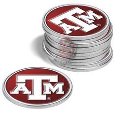 Texas A & M Aggies Golf Ball Marker (12 Pack) by LinksWalker. $27.27. The LinksWalker 12 Pack of NCAA Ball Markers includes a dozen premium quality, gold-tone coins brilliantly decorated with the Texas A & M Aggies logo. The piezoelectric printed logo is sealed with a crystal clear epoxy coating that provides maximum durability and an ample amount of UV protection to keep your school colors proudly visible for many sunny golf outings.