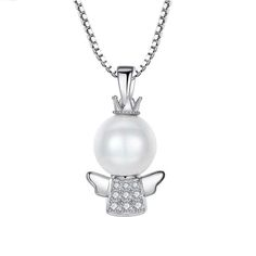 Sterling Silver Lovely Angel with Pearl and Zircon Crystals Necklace
