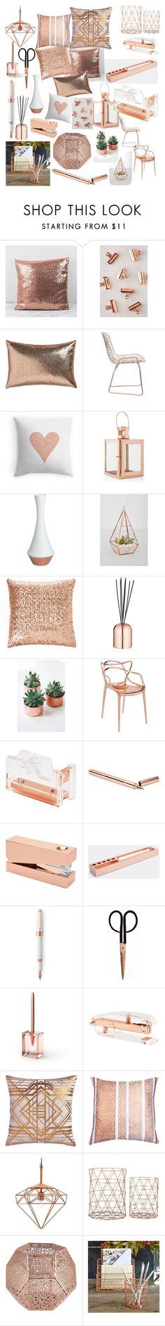 """Copper finishes"" by caitlin1d23-07-10 ❤ liked on Polyvore featuring interior, interiors, interior design, home, home decor, interior decorating, Urban Outfitters, CB2, Zuo and Pillow Decor"