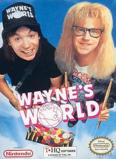Wayne's World - Label or Box Art #nintendo games #gamer #snes #original #classic #pin #synergeticideas #gameon #play #award