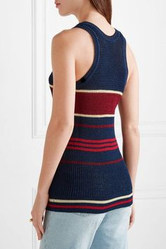 Étoile Isabel Marant - Dully Striped Open-knit Tank - Storm blue - FR44