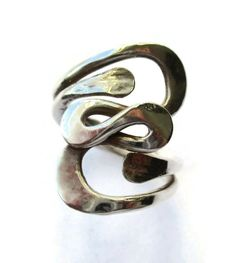 SOLD. Vintage squiggle ring, handmade 900 silver, freeform organic design, swirls and curls, modernist design, one of a kind, OOAK ring. https://www.etsy.com/listing/268990127/vintage-squiggle-ring-handmade-900