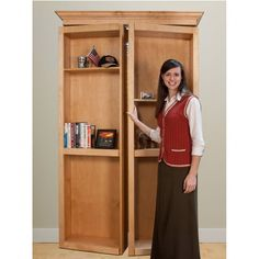 InvisiDoor Bi-Fold Bookcase Shelving Unit Kit - Maple #bookcase #door #hiddendoor