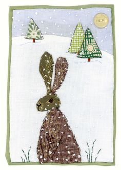 Machine Embroidery Hare in snow by Sharon Blackman Applique Patterns, Applique Quilts, Embroidery Applique, Quilt Patterns, Applique Ideas, Patchwork Quilting, Fabric Cards, Fabric Postcards, Free Motion Embroidery