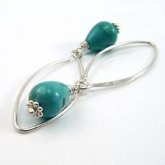 Beautiful turquoise teardrops by Night Sky Jewelry. $21