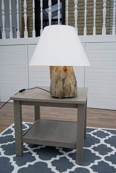 DIY Table Lamp Of A Tree Stump