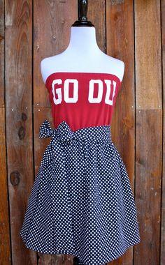 University of Oklahoma Sooners OU Strapless Game Day Dress - Size Small. $45.00, via Etsy.