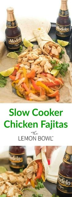Slow Cooker Chicken Fajitas are an easy slow cooker dinner recipe full of fresh Mexican flavors. Ideal for prepping ahead of time and freezer friendly! Crock Pot Recipes, Slow Cooker Recipes, Chicken Recipes, Crockpot Ideas, Healthy Chicken, Turkey Recipes, Healthy Slow Cooker, Crock Pot Slow Cooker, Slow Cooker Chicken