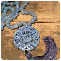 Collar Ágata azul y Jade azul