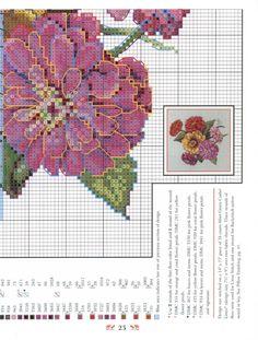 Zinnias ~  Pillows from Paula's Garden: Book 80, a cross stitch design by Paula Vaughan.