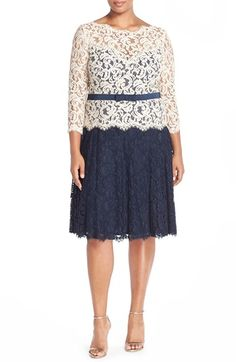 Tadashi Shoji Belted Colorblock Lace Fit & Flare Dress (Plus Size) available at #Nordstrom