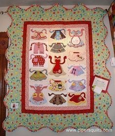 This is the most adorable Applique quilt pattern! Full of retro aprons in wonderful designs. This pattern is in the fashion of a block of the month