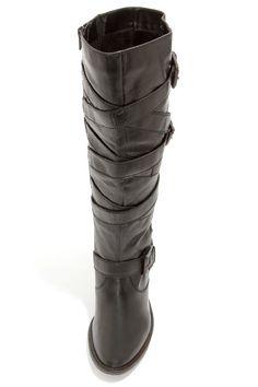 Steve Madden Renegaid Black Leather Belted Knee High Boots at LuLus.com!