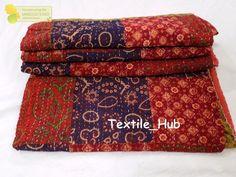 Indian kantha Patchwork Kantha Quilt  Hand Block Print kantha Bedspread Gudri  #Handmade #Traditional