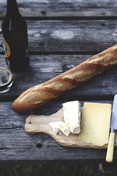 No recipe...just a simple, crusty baguette, brie and some awesome hard cheese. Simple and delish.
