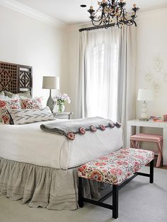 Mix genres in your bedroom to create a fun and unique look. More of our editors' favorites here: http://www.bhg.com/rooms/bedroom/master-bedroom/beautiful-boudoirs/?socsrc=bhgpin062114mixinggenres&page=3