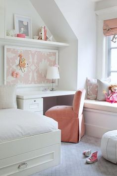 contemporary girls room study desk with storage