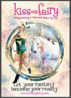 From our 2014 photoshoot. Model with unicorn with bodypaint, hair and make up by the Kiss My Fairy team.