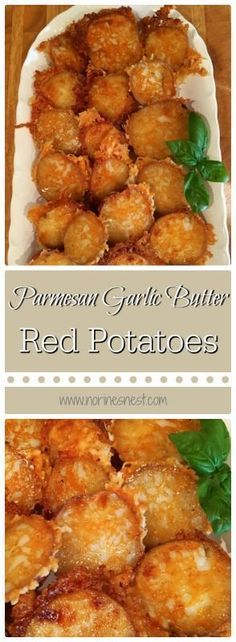 Parmesan Garlic Butter Red Potatoes The perfect side dish! Parmesan Garlic Butter Red Potatoes is a favorite at our house! Super simple to make and can be baking in the oven while the main course is on the grill! Potato Side Dishes, Vegetable Side Dishes, Side Dish Recipes, Vegetable Recipes, Baked Red Potatoes, Parmesan Potatoes, Butter Potatoes, Cheesy Potatoes, Side Dishes