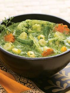Vegetables In Spinach Gravy, an assortment of vegetables in a yummy spinach gravy.