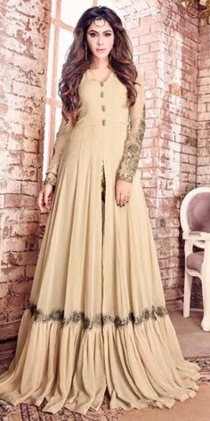 Cream Georgette Material Floor Touch Anarkali Suit For Party Wear