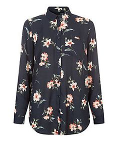 Black Floral Print Long Sleeve Shirt  | New Look