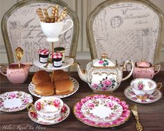 https://www.facebook.com/HelensRoyalTeaHouse  http://www.etsy.com/shop/HelensRoyalTeaHouse A Sadler Teapot, some vintage China and a Cake Tier makes breakfast special.