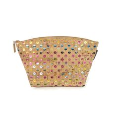 Small Standing Pouch in Sequin Cork   Digitally printed sparkly cork exterior! Cork is water-resistant, lightweight and easy to clean!