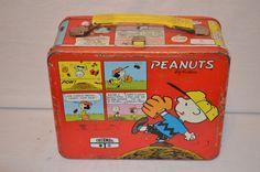 Vintage Red Snoopy/Baseball Peanuts & The Gang Metal Lunchbox. $25.00, via Etsy.